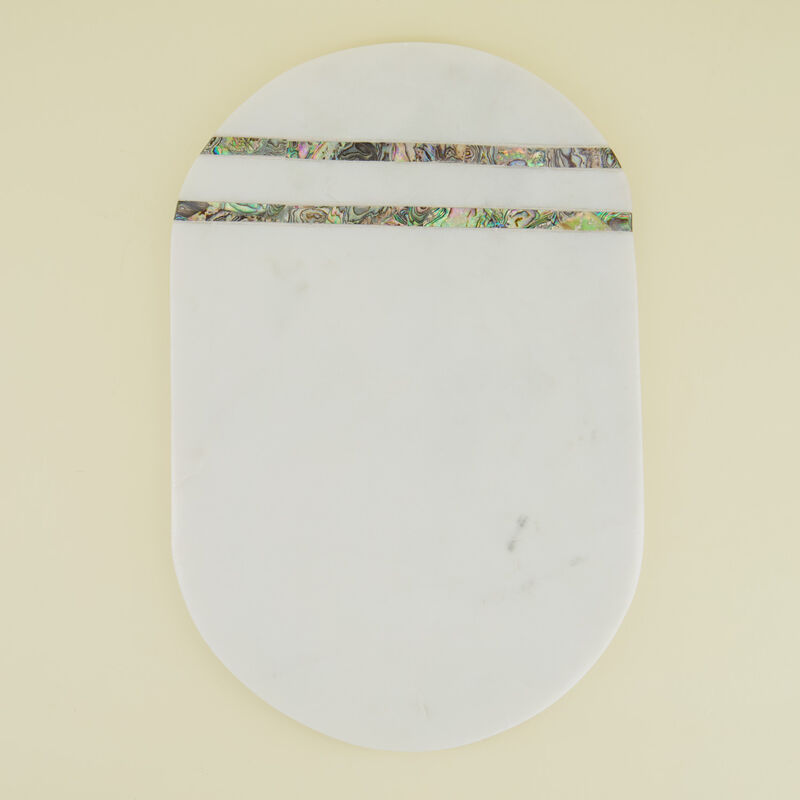 Mother of Pearl & Marble Pill-Shaped Board -  white-silver