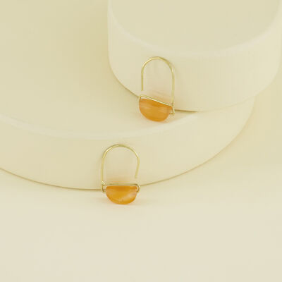 Stone Wedge Mini Hoop Earrings