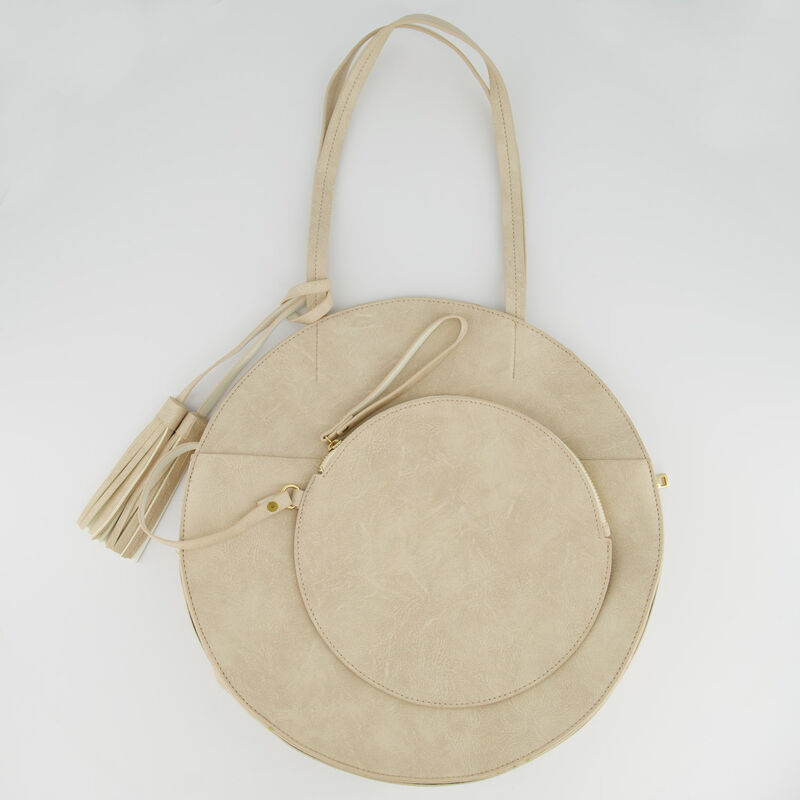 Angelina Vegan Leather Round Bag -  bone