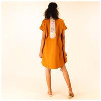 Anne Linen Pop Over Dress -  yellow