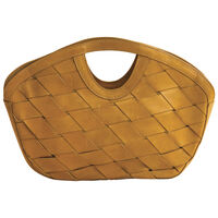 Mariel Plaited Leather Clutch Bag -  yellow-yellow