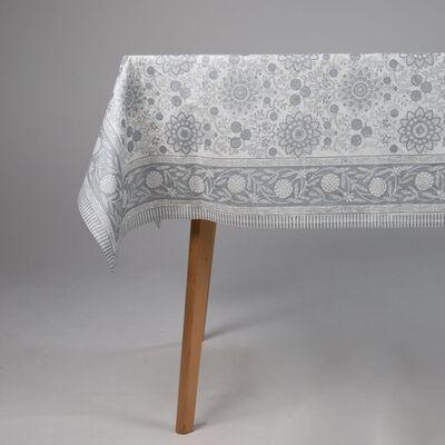 Silver Blockprint Tablecloth