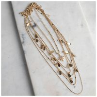 Multi-layered Star & Disc Necklace -  gold