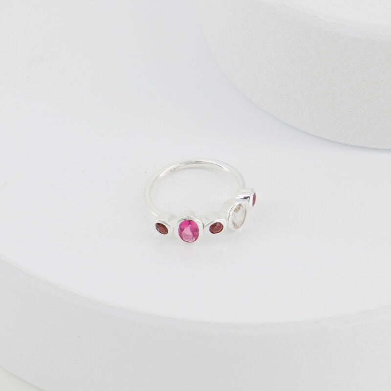 Garnet & Pink Quartz Ring -  pink