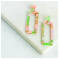 Rectangle Resin Drop Earrings -  gold-assorted