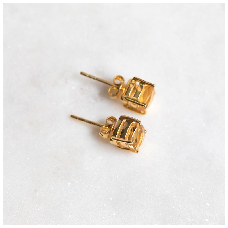 Citron & Gold Plated Silver Stud Earrings -  gold-yellow