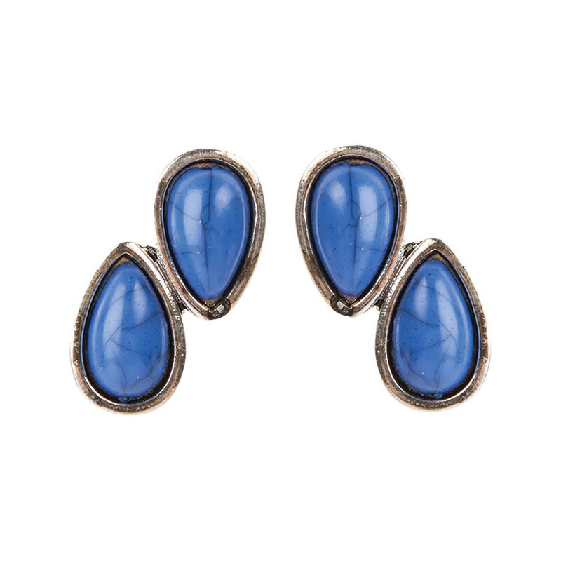 Double Teardrop Stud Earrings -  silver-navy