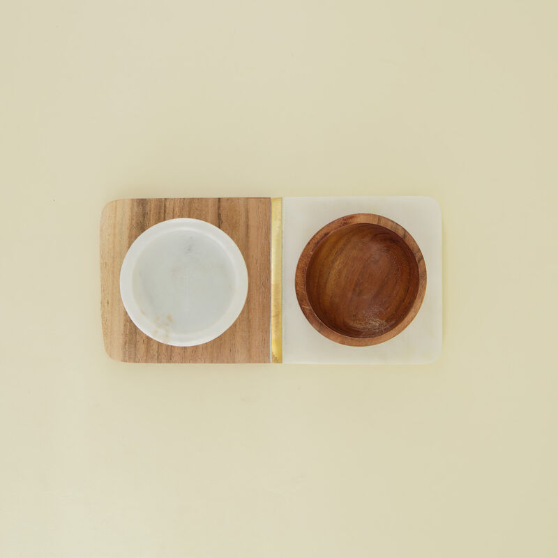 Wood & Marble Tapas Bowl on Board -  white-brown