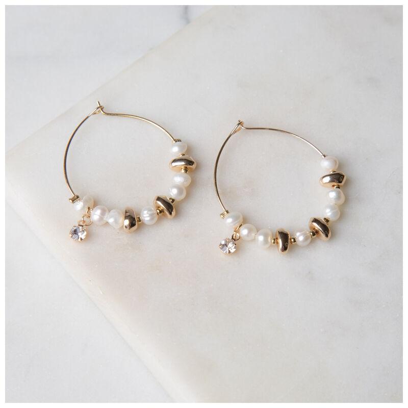 Pearl & Disk Cluster Hoop Earrings -  milk-gold