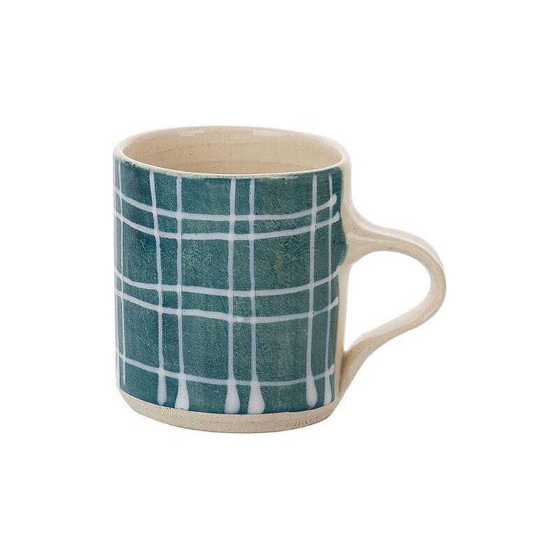 Wonki Ware Teal Grid Espresso Mug  -  teal