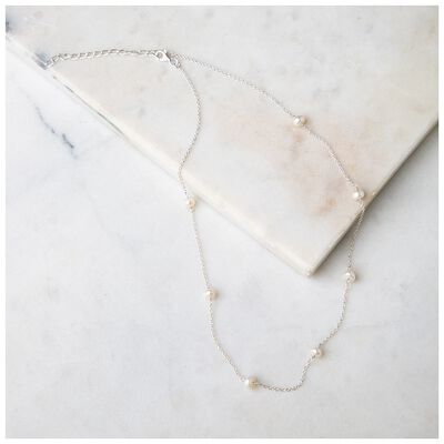 Fresh Water Pearl & Sterling Silver Satellite Necklace