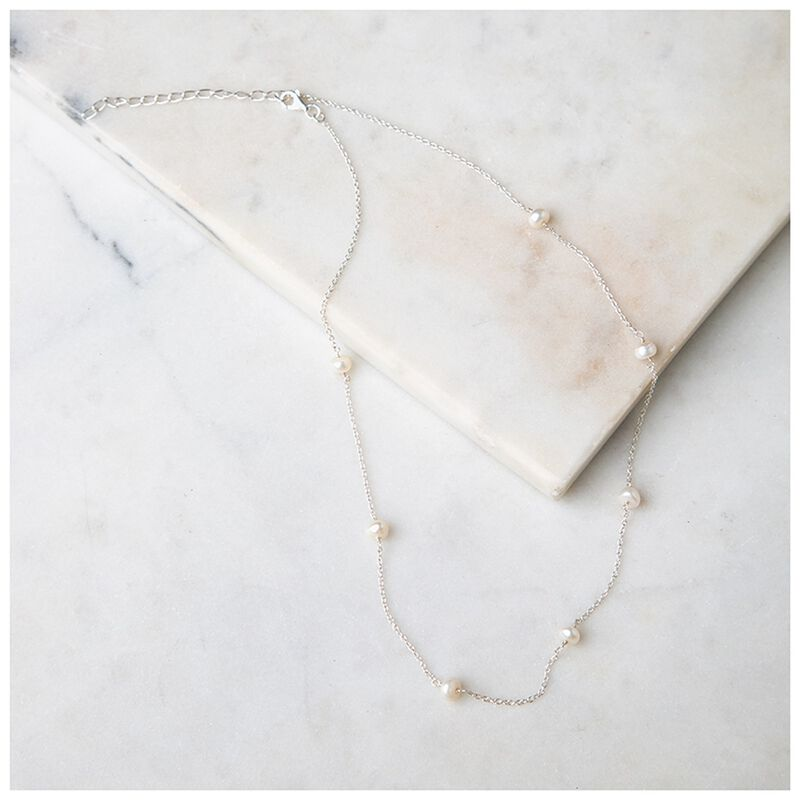 Fresh Water Pearl & Sterling Silver Satellite Necklace -  silver-cream