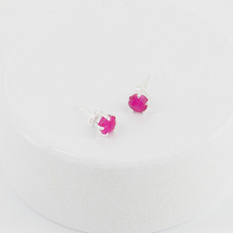 Ruby Domed Silver Stud Earrings -  c27