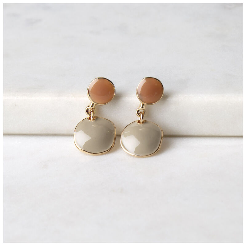 Shiny Epoxy Double Drop Earrings -  olive-gold