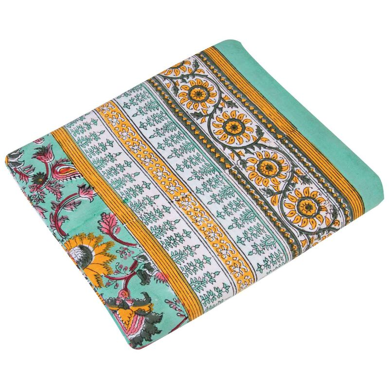 Aqua & Ochre Tablecloth -  assorted