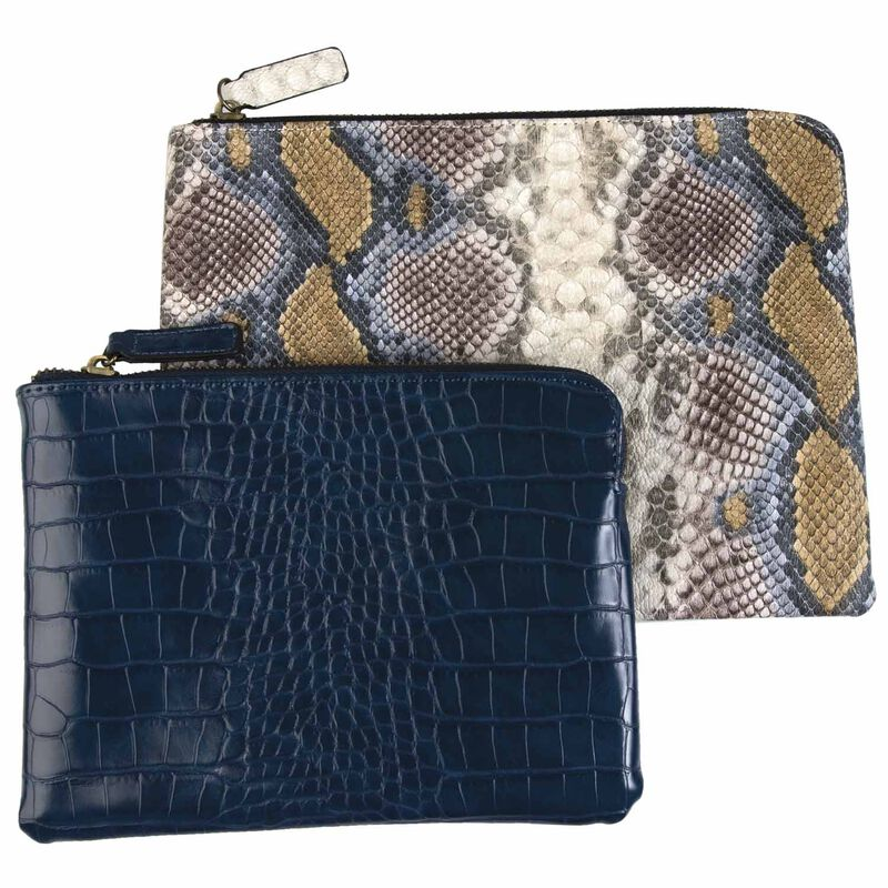 Two-Piece Vegan Leather Pouch Set -  navy-assorted