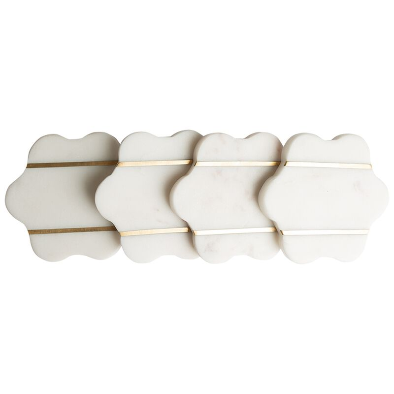Marble and Brass Coaster Set -  white