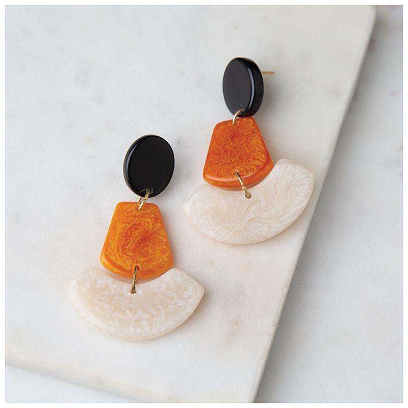 3-Tier Resin Drop Earrings -  yellow