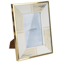Small White Marbled Resin with Brass Border Frame -  white-gold