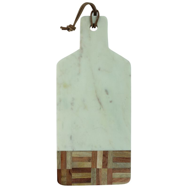 Marble and Wood Grid Detail Board  -  white-brown