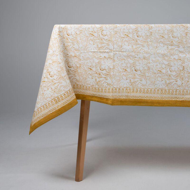 Rust Blockprinted Tablecloth -  rust-white