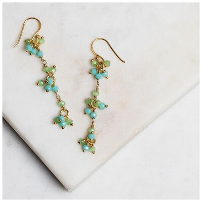 Aqua Chalcedony & Prehnite Chalcedony Drop Earrings