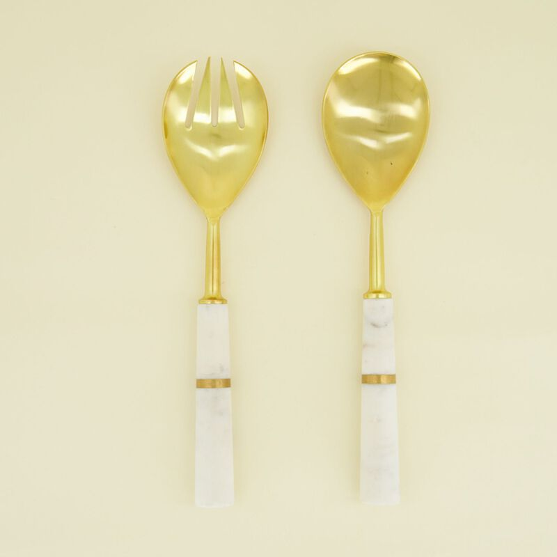 White Marble & Brass Salad Server Set -  white-gold