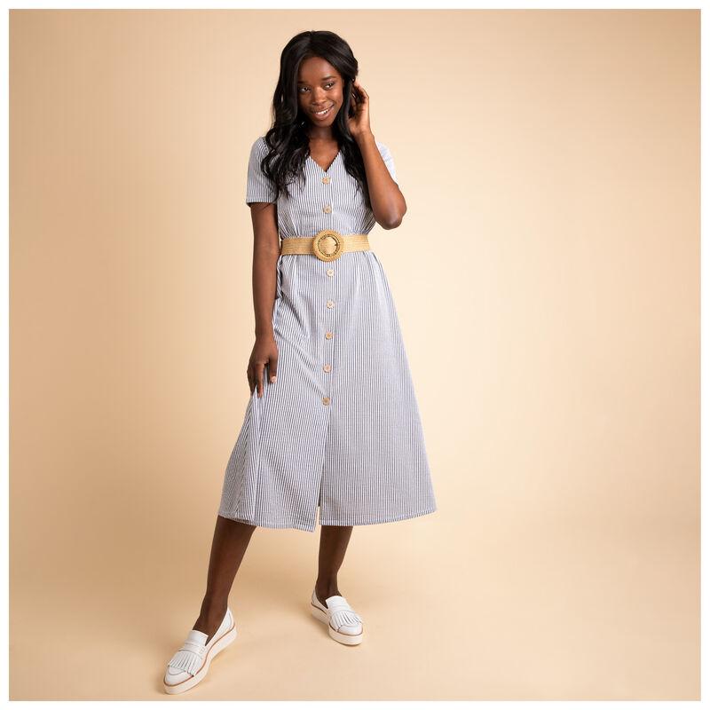 Theia Stripe Knit Dress -  navy