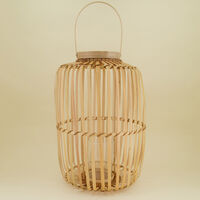 Large Bamboo Natural Lantern -  oatmeal