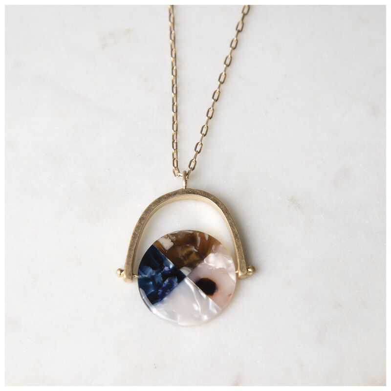 Resin Pendant Necklace -  navy-gold