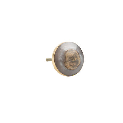 Grey Resin & Wood Round Knob